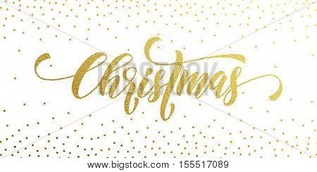 Merry Christmas gold glitter lettering design. Christmas greeting card, poster, banner. Vector golden glittering snow, snowflakes, white dots on white background