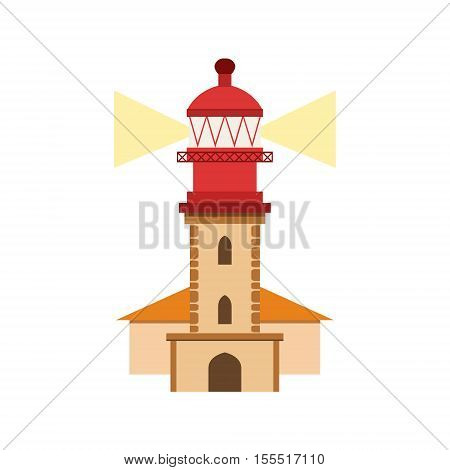 Lighthouse Of Nazare Portuguese Famous Symbol. Touristic Well-known Emblems Of Portugal Simple Illustration Isolated On White Background.