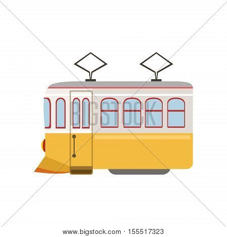 Tram Public Transportation Portuguese Famous Symbol. Touristic Well-known Emblems Of Portugal Simple Illustration Isolated On White Background.