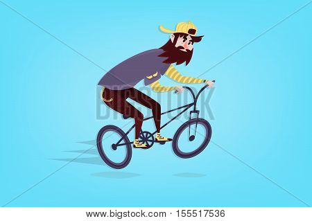Stylish comic hipster on the bmx bike with beard on blue background. Cartoon man
