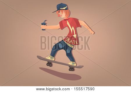 Stylish comic hipster on skate. Urban citizen character