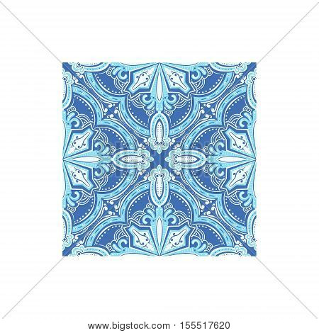 Geometric Pattern Azulejo Tile Portuguese Famous Symbol. Touristic Well-known Emblems Of Portugal Simple Illustration Isolated On White Background.