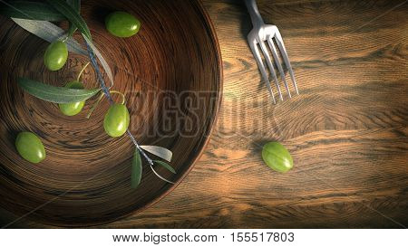 wooden bowl with olive branches 3D rendering