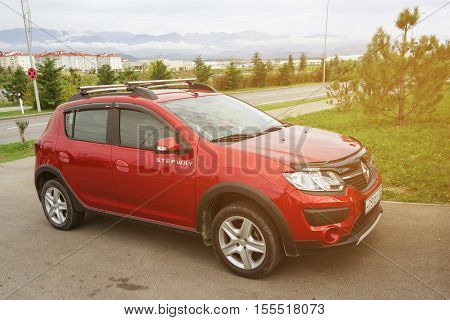 Sochi, Russia - October 11, 2016: Renault Sandero Stepway parked on the country road.