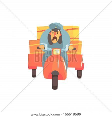 Postman Riding Red Motorbike With Trailer. Graphic Design Cool Geometric Style Isolated Drawing On White Background