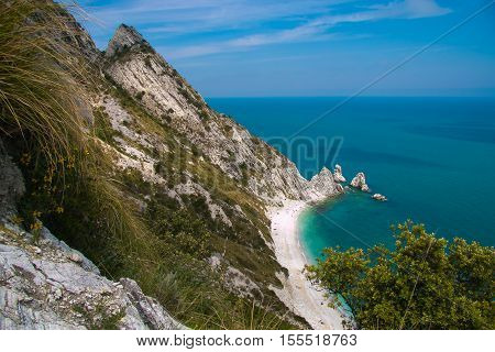 Top view of of the Two Sister (Due Sorelle) bay , Conero Mountain in the adriatic sea, Italy
