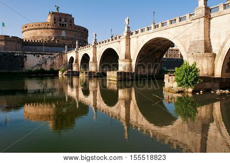 Castel Sant'Angelo (Mausoleum of Hadrian) in a summer day in Rome Italy
