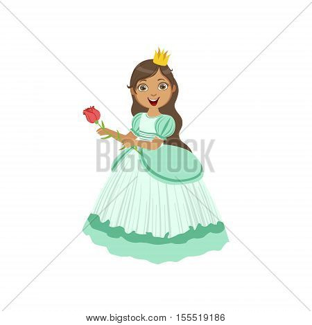 Little Girl In Turquoise Dressed As Fairy Tale Princess. Cute Flat Child Character In Bright Colored Clothes Isolated On White Background