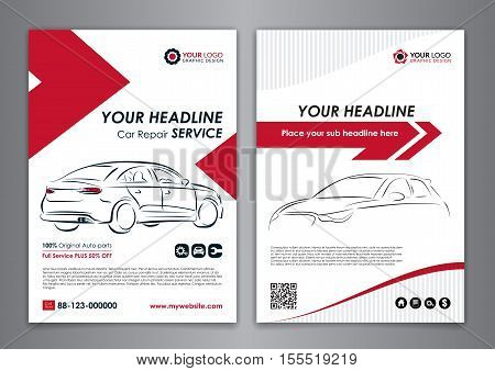 A5 A4 service car business layout templates. Auto repair Brochure templates automobile magazine cover abstract arrow Modern Backgrounds. Vector illustration.