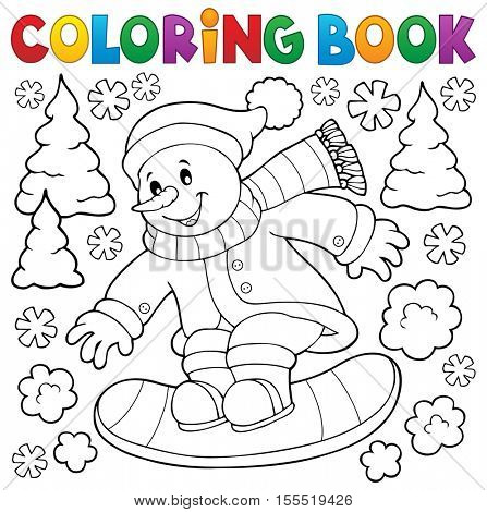 Coloring book snowman on snowboard - eps10 vector illustration.