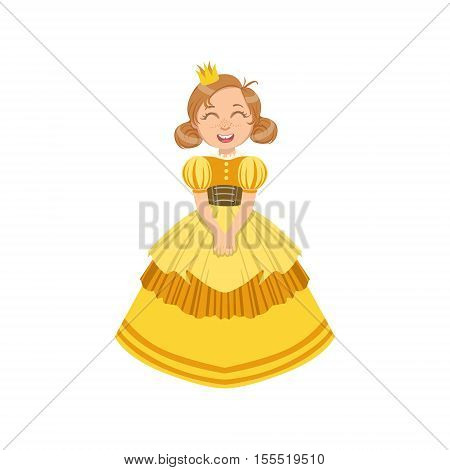 Little Girl In Yellow Dress Dressed As Fairy Tale Princess. Cute Flat Child Character In Bright Colored Clothes Isolated On White Background