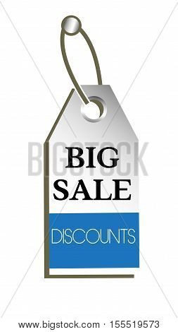 Isolated tag with the text big sale discounts written on the tag