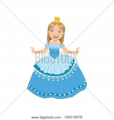 Little Girl In Blue Dress Dressed As Fairy Tale Princess. Cute Flat Child Character In Bright Colored Clothes Isolated On White Background