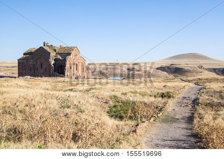 Color image of a church in Ani Turkey. Ani used to be the capital of the Bagratid Armenian kingdom between 961 and 1045.
