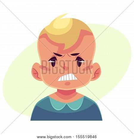 Little boy face, angry facial expression, cartoon vector illustrations isolated on yellow background. Blond male kid emoji face, feeling distresses, frustrated, sullen, upset. Angry face expression