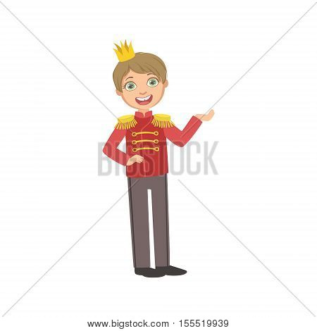 Little Boy In Red Military Jacket Dressed As Fairy Tale Prince. Cute Flat Child Character In Bright Colored Clothes Isolated On White Background