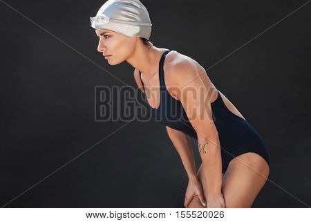 Young Sportswoman In Swimsuit