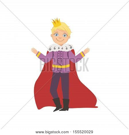Little Boy In Mantle Dressed As Fairy Tale Prince. Cute Flat Child Character In Bright Colored Clothes Isolated On White Background