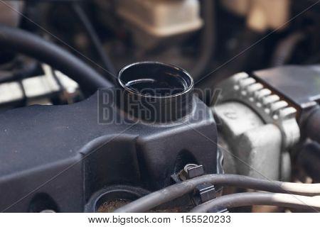 Car gasoline engine, close up