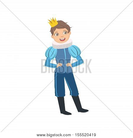 Little Boy With Jabot Collar Dressed As Fairy Tale Prince. Cute Flat Child Character In Bright Colored Clothes Isolated On White Background