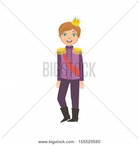 Little Boy With Epaulets Dressed As Fairy Tale Prince. Cute Flat Child Character In Bright Colored Clothes Isolated On White Background