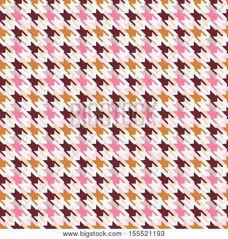 Houndstooth seamless pattern. Vector background in white pink and brown colors.