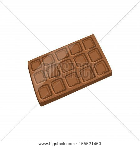 Milk Chocolate Bar Bright Color Isolated Illustration. Supermarket Product Bright Color Simple Vector Icon.