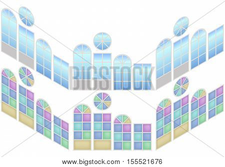 Collection of windows in isometric view. Windows whith blue glass and stained-glass window. Vector illustration