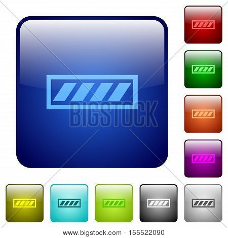 Progress bar color glass rounded square button set