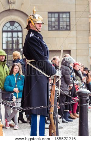 Stockholm Sweden - April 02 2016: Swedish Royal Guard standing during the change of guard in Stockholm