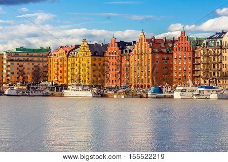 Stockholm Sweden - March 30 2016: Stockholm Old Town Sweden. Old colorful houses in Stockholm