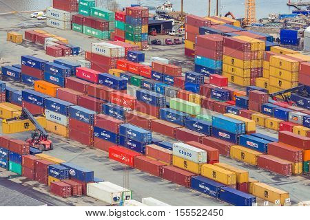 Stockholm Sweden - March 30 2016: Large containers in the port of Stockholm Sweden