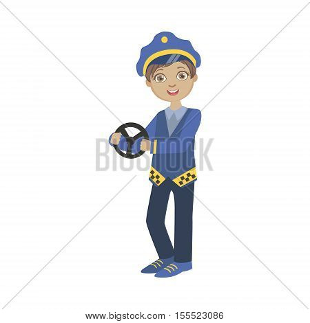 Boy Dressed As Taxi Driver Holding Car Stirring Wheel. Child Dream Future Profession Cute Colorful Illustration Isolated On White Background.