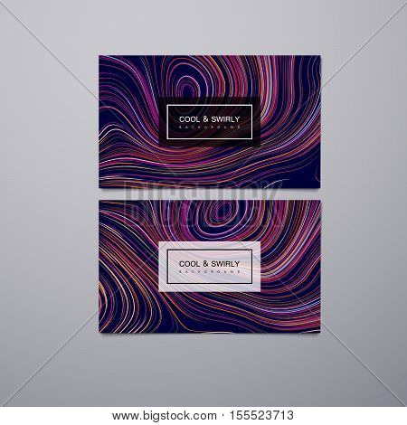 Greeting, invitation, business, gift cards design template with swirled iridescent lines. Vector illustration of concentric lines pattern. Marble or acrylic texture imitation. Branding stationery design