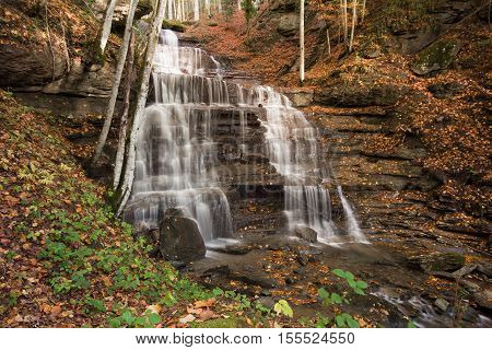 Waterfall in the autumn national park of foreste casentinesi, Tuscany - Italy