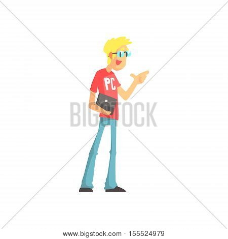 Programmer Talking Holding A Lap Top Funny Character. Graphic Design Cool Geometric Style Isolated Drawing On White Background