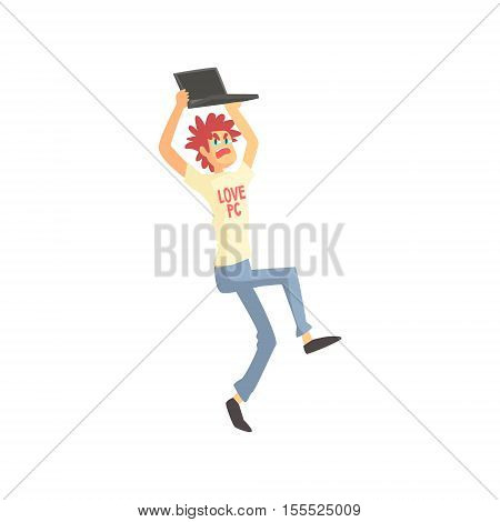 Programmer Angry Holding Lap Top Above Head Funny Character. Graphic Design Cool Geometric Style Isolated Drawing On White Background