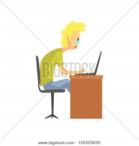 Programmer Student Working On Lap Top Funny Character. Graphic Design Cool Geometric Style Isolated Drawing On White Background