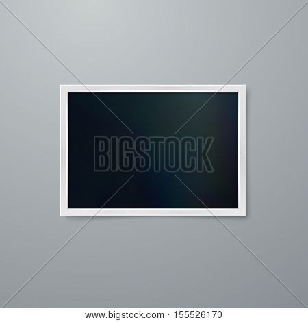 Instant photo frame mock-up. Vector illustration of Realistic iridescent photo frame on textured paper. Vector mock up