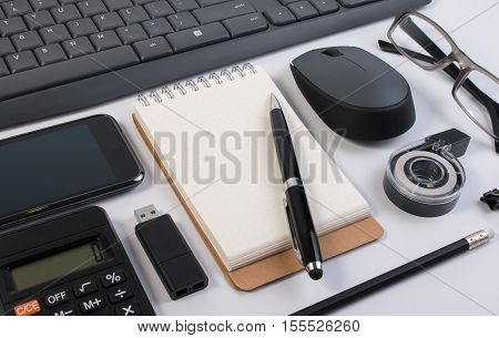 Flatlay Of Business Office Stuff Isolated On White. Business Office Supplies Or Business Office Stat