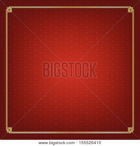 Basic design Chinese style art gold boarder frame element and abstract red background vector illustration eps 10