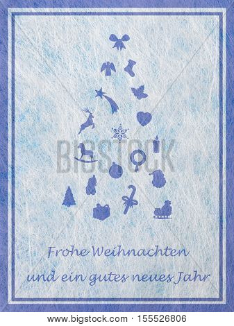 Abstract christmas tree with various christmas motifs and the german word for Merry Christmas and a happy New Year