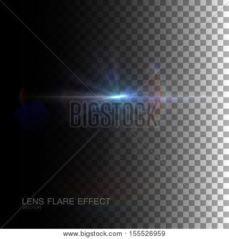 Sparkle sun burst. Digital lens flare effect. Vector illustration of lens flare light effect. VFX element for design