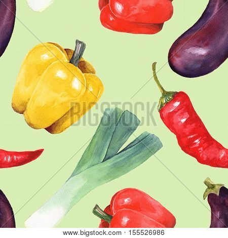 Watercolor vegetables. Hand drawn seamless pattern 2