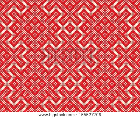 Seamless Red Knitting Background. Abstract Nordic Sweater Ornament. Old Russian Knitted Pattern. Decorative Fashion Design. Christmas Graphic Print Design
