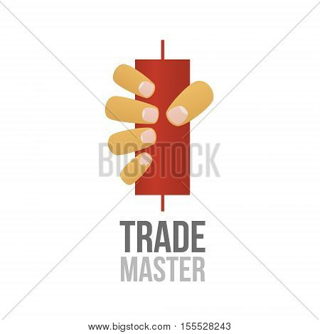 Stock market vector illustration. Forex market trading. Hand hold a candle