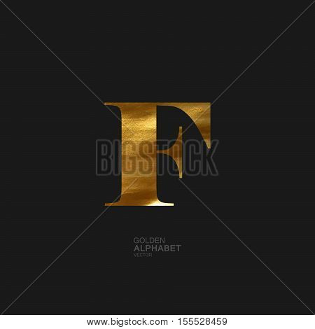 Golden Letter F. Typographic vector element for design. Part of glow golden painted alphabet. Letter F with golden paint texture. Vector illustration