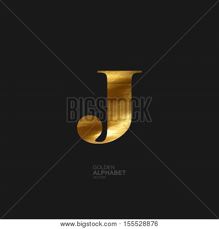 Golden Letter J. Typographic vector element for design. Part of glow golden painted alphabet. Letter J with golden paint texture. Vector illustration