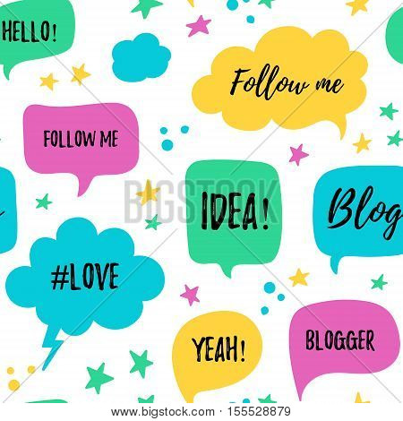 Vector speech bubbles seamless patter with phrases Blog, Blogger, love, follow me. Hand drawn speech bubbles, blog label in grunge style with hashtag. Social media icons set.