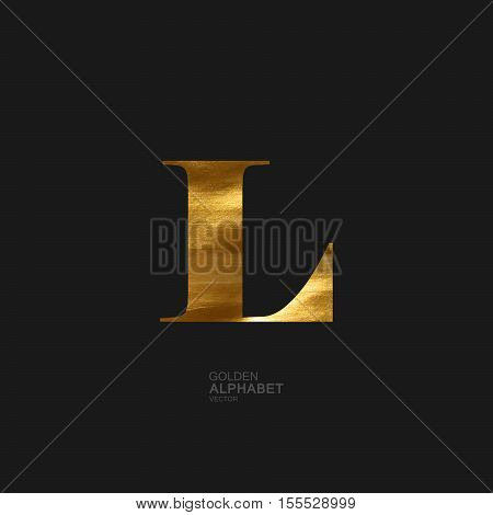 Golden Letter L. Typographic vector element for design. Part of glow golden painted alphabet. Letter L with golden paint texture. Vector illustration